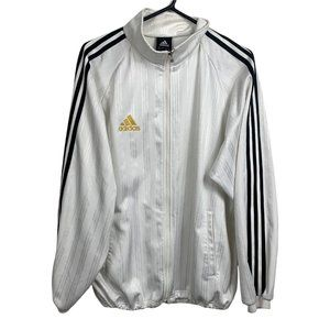 Adidas Tracksuit Jacket Mens Size L White Double-Sided Three Stripes